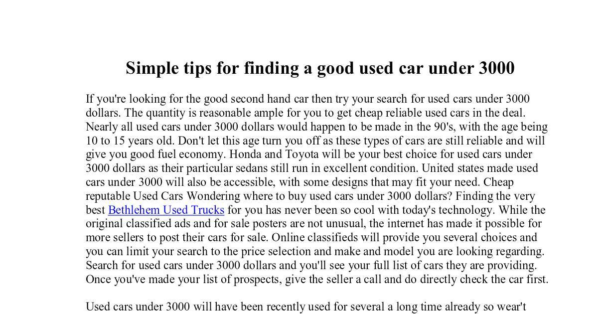 Cheap Used Cars Under 3000 >> Simple Tips For Finding A Good Used Car Under 3000 Dochub