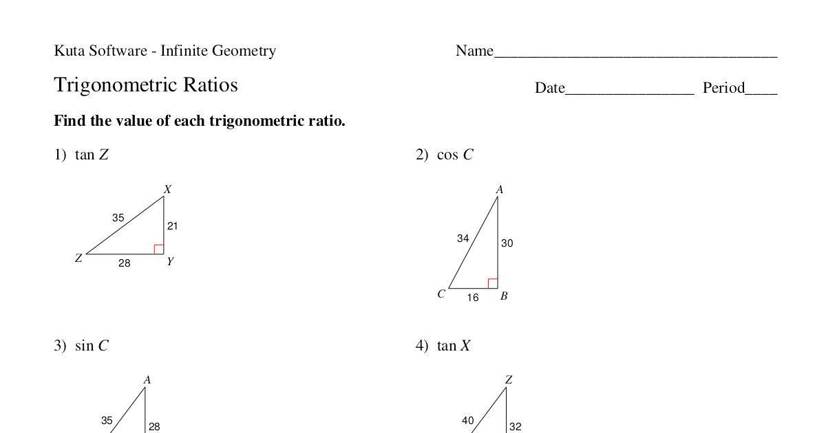 2016 Unit 3 Practice 1 Trigonometry Ratios and Cofunction