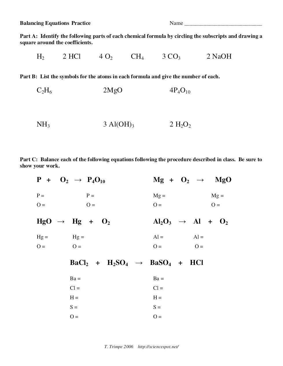 worksheet Balancing Equations Practice Worksheet Answer Key balancing equations practice dochub