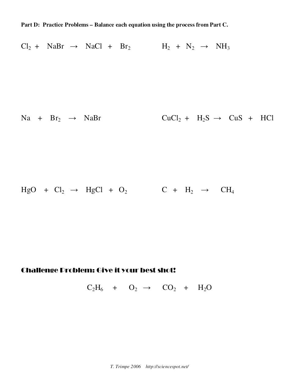 Balancing equations practice worksheet answers part c