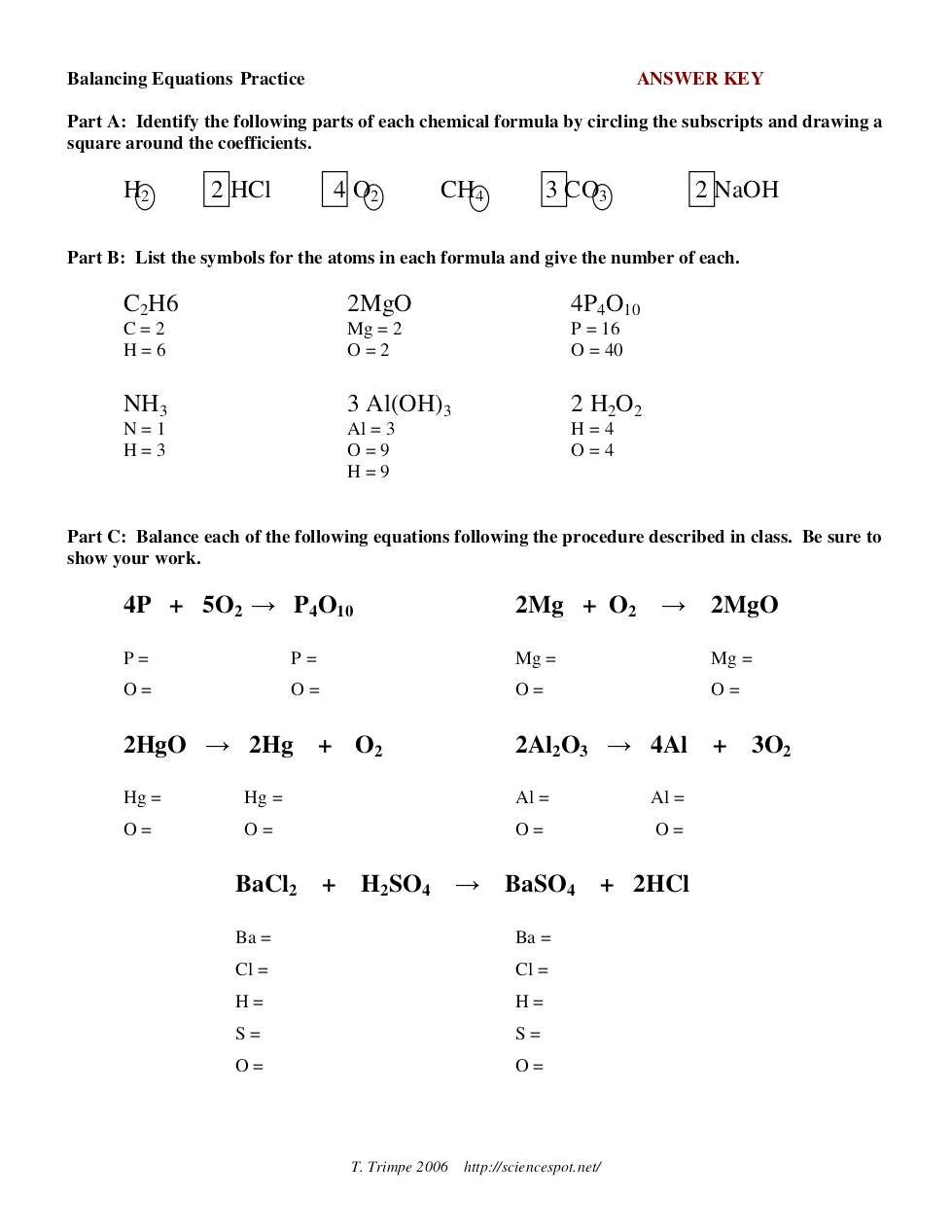 Balancing Equations Practice – Balancing Equations Practice Worksheet Answers