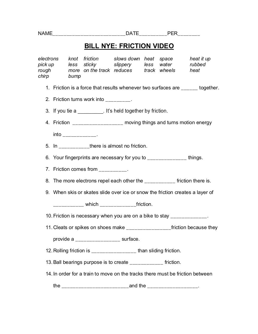 Bill Nye Friction Worksheet