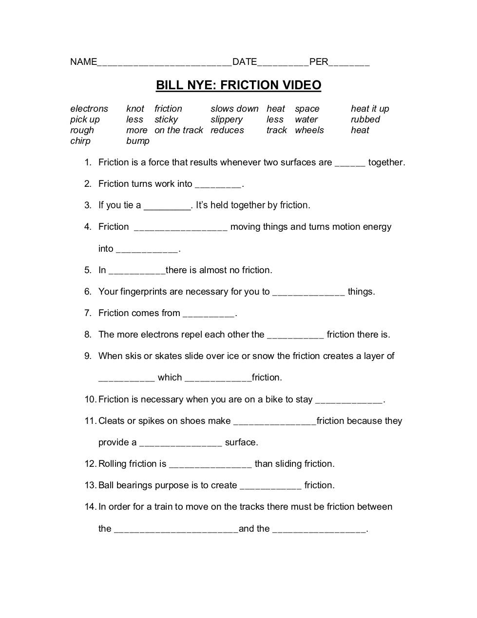 Free Worksheets bill nye food web worksheet : Bill Nye Worksheet - Geersc