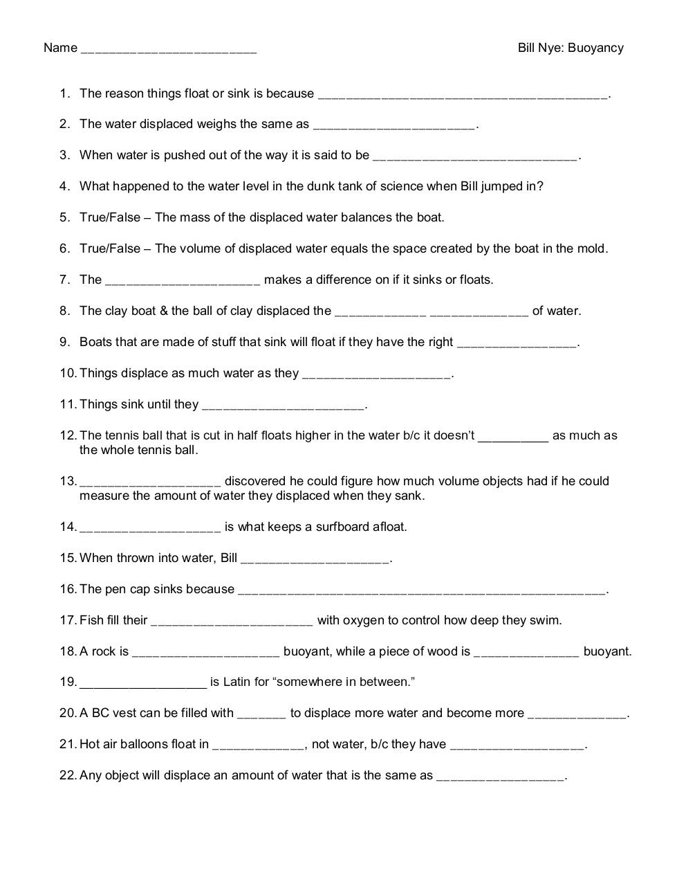 worksheet Bill Nye Measurement Worksheet bill nye buoyancy dochub page 1 of 5