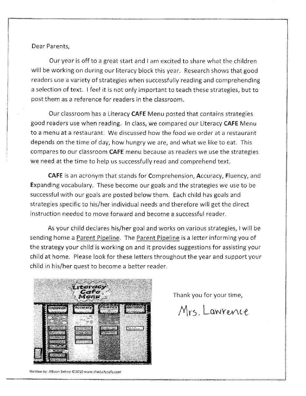 CAFE Parent Letter IPICK Check For Understanding