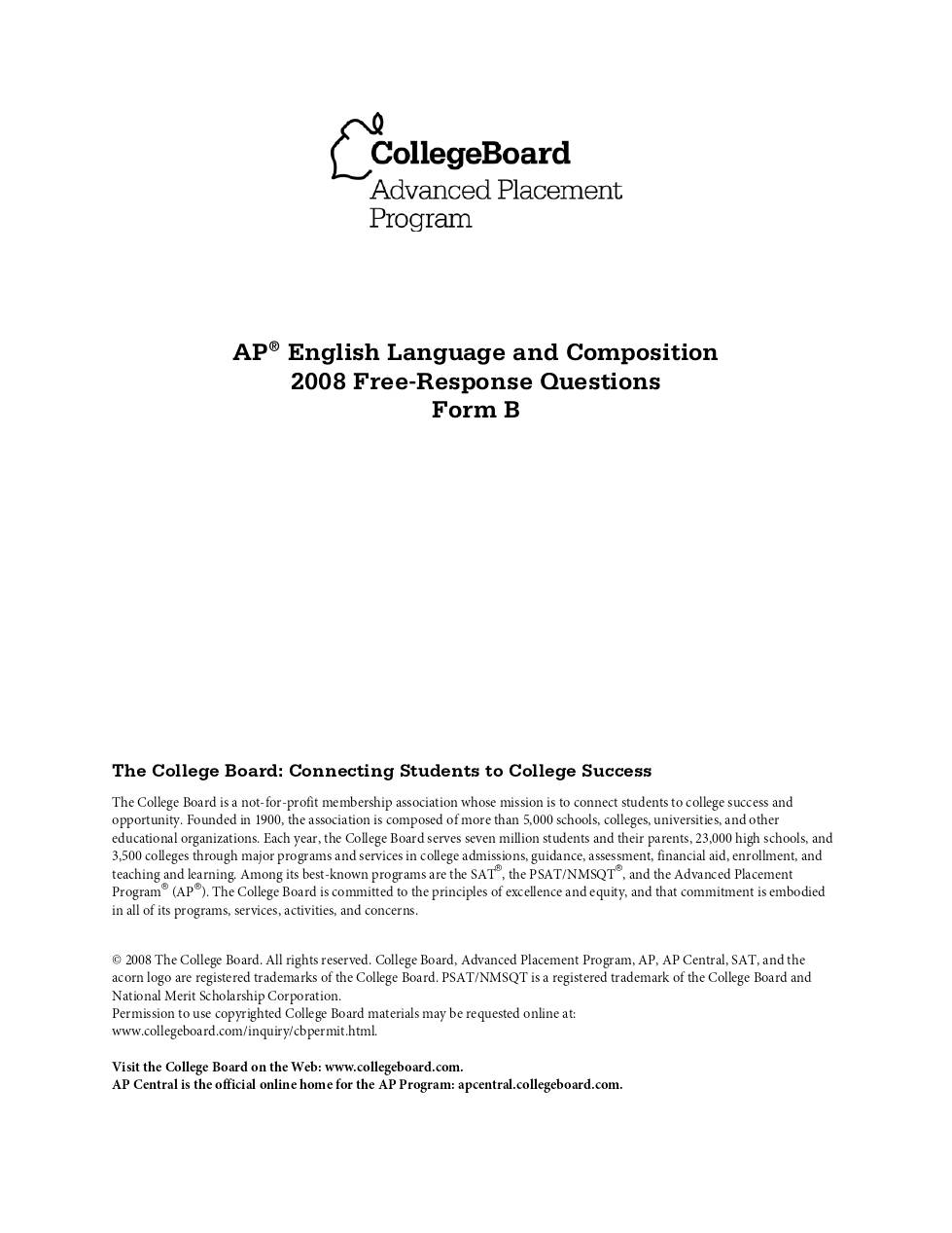 2007 ap language and composition essay Mrs stewart's english classes at mrbs ap english language and composition course syllabus tests, projects, essays and presentations.