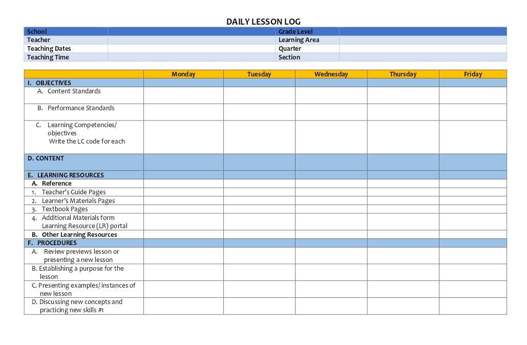 Daily Lesson Log (Template) | Dochub