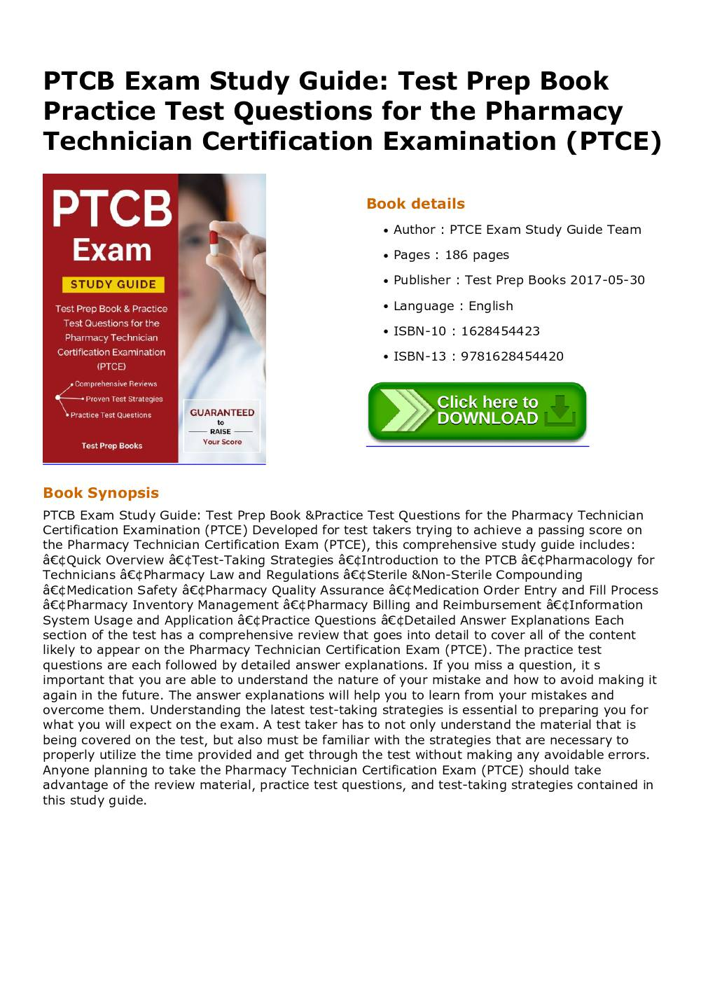 Ptcb exam study guide test prep book practice test questions for ptcb exam study guide test prep book practice test questions for the pharmacy technician certification examination ptce dochub xflitez Choice Image