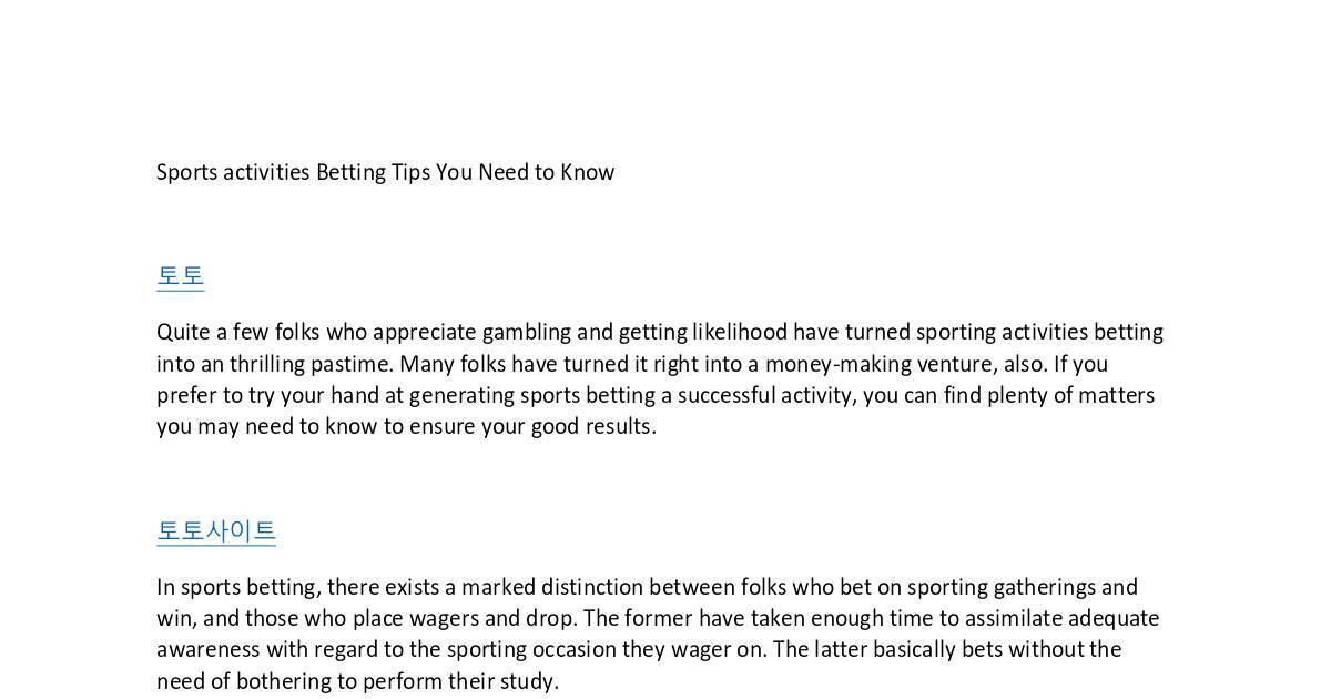 Sports activities Betting Tips You Need to Know4 pdf | DocHub
