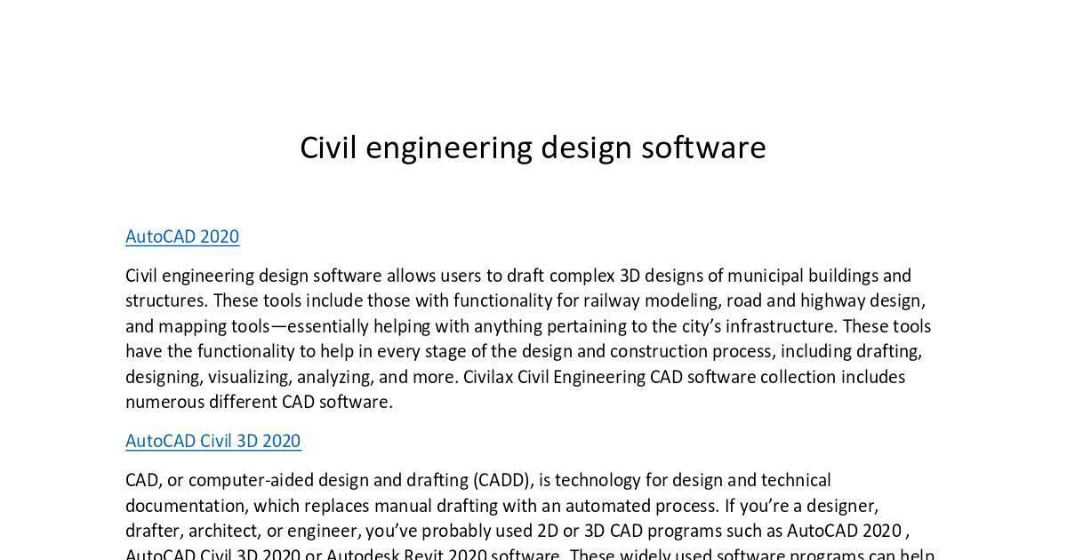 Civil Engineering Design Software Pdf Dochub