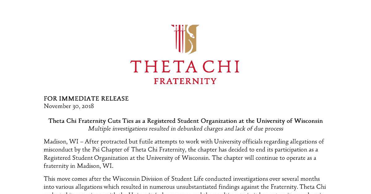 Theta Chi Fraternity - Madison, WI - Press Release -  pdf