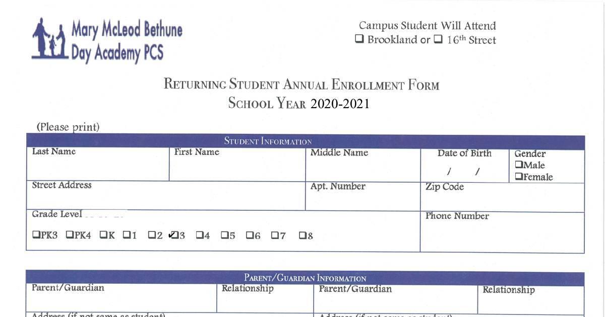 Returning Student Enrollment Packet Pdf Dochub