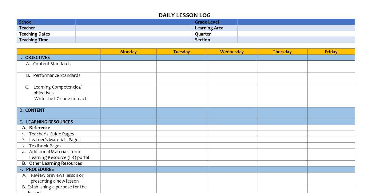 DAILY LESSON LOG (TEMPLATE) | DocHub.
