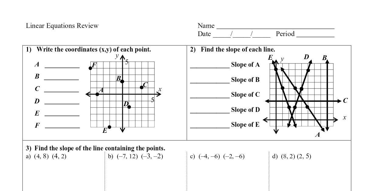 Linear Equations Review Worksheet Pdf Dochub