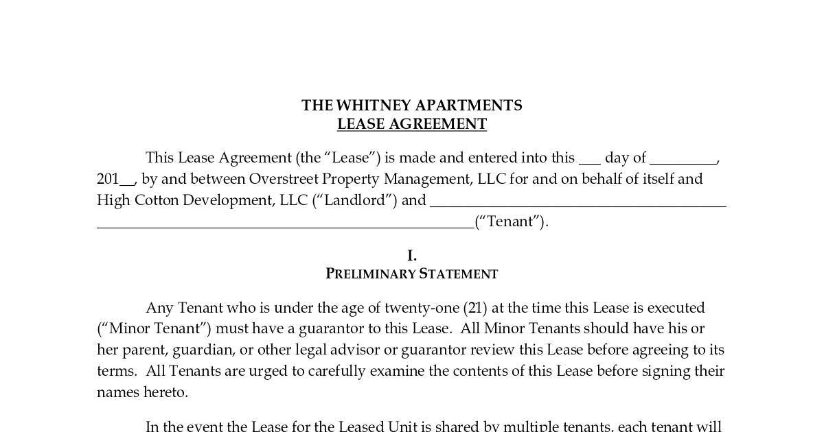 The Whitney Apartments Lease Agreement Dochub