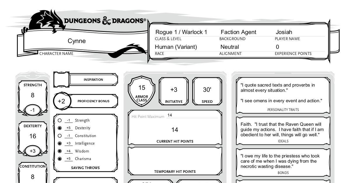 graphic relating to 5e Character Sheet Printable referred to as 5E Conventional Variety-Fillable Persona Sheet DocHub