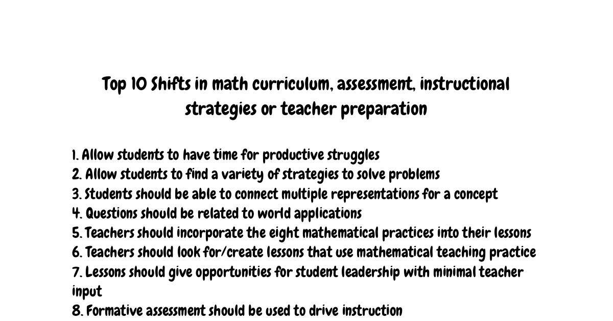 Top 10 Shifts In Math Curriculum Assessment Instructional