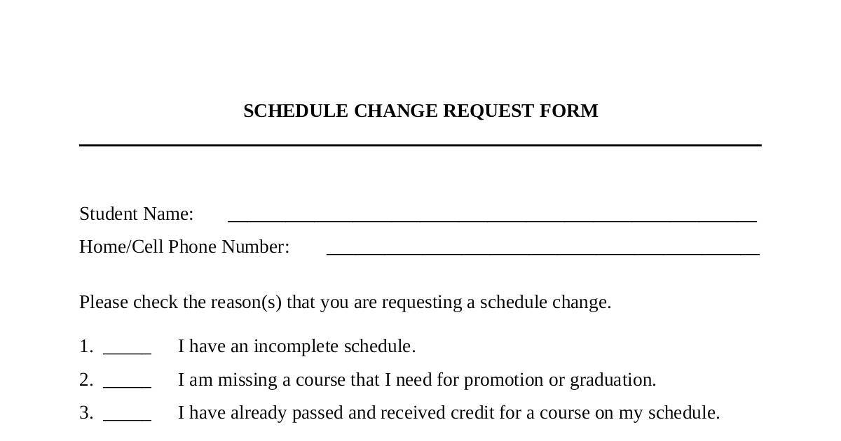 Schedule Change Request Form  Dochub