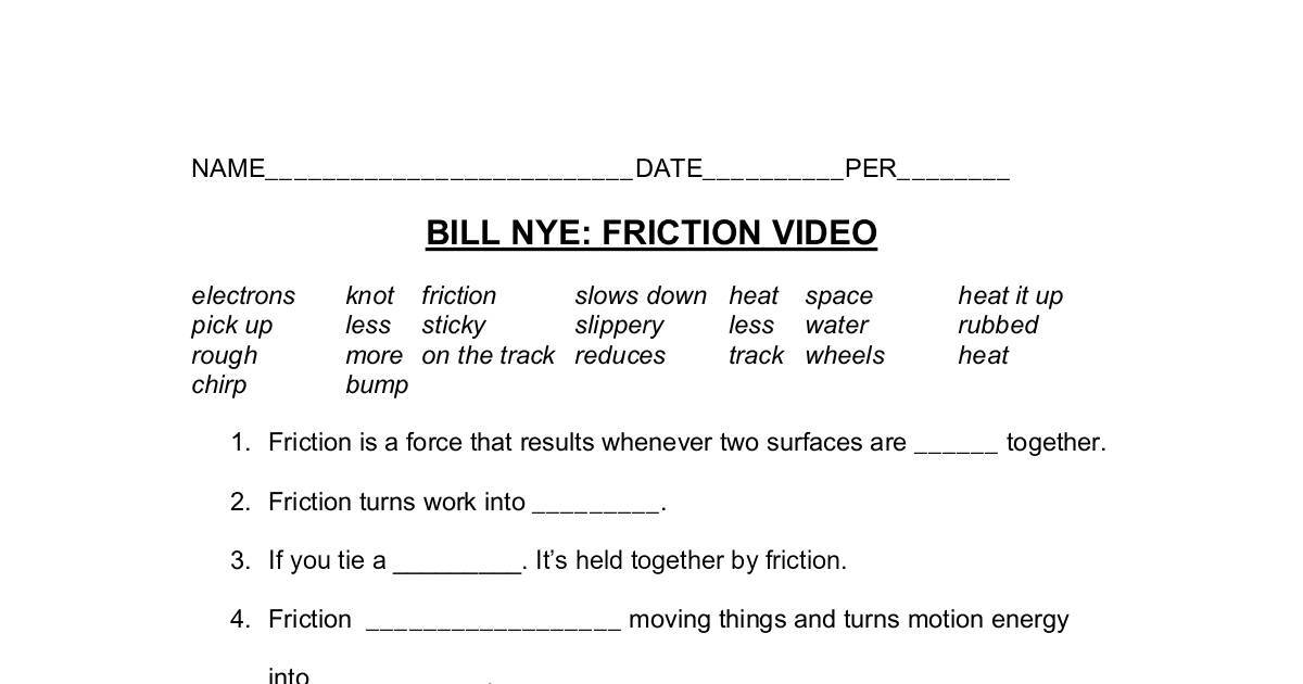 bill nye friction worksheet dochub. Black Bedroom Furniture Sets. Home Design Ideas