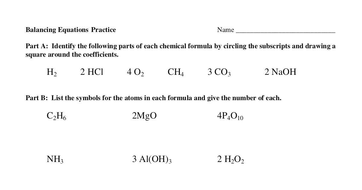 Balancing Chemical Equations Worksheet Grade 10 writing ...