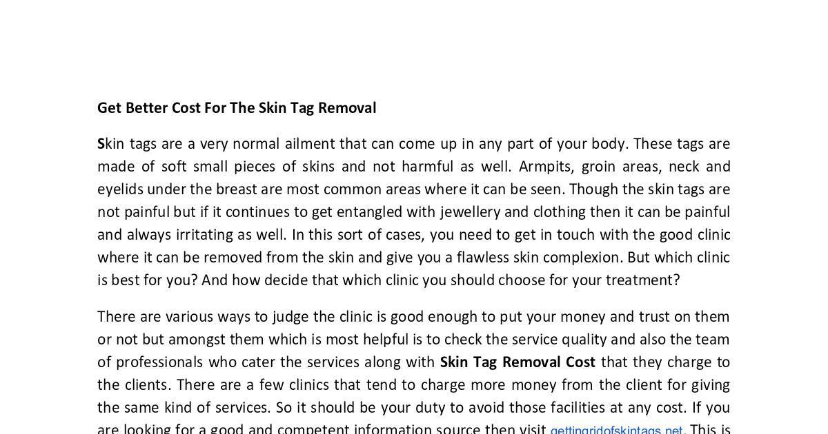 Get Better Cost For The Skin Tag Removal Dochub