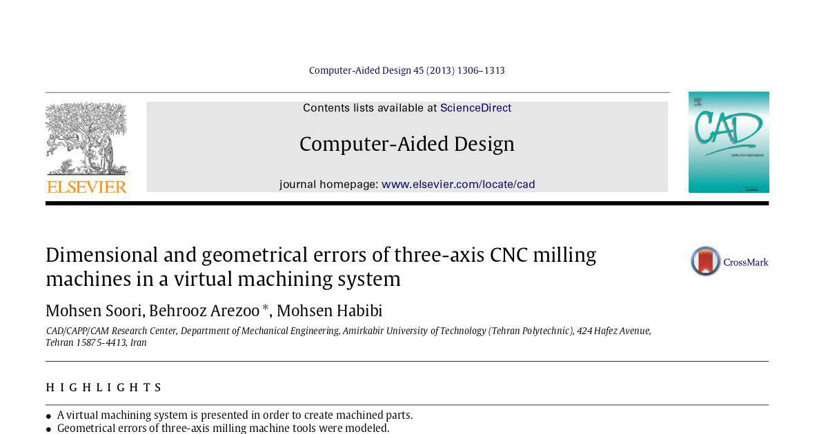Dimensional and geometrical errors of three-axis CNC milling