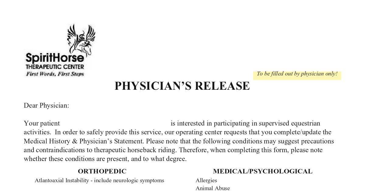 physician release dochub - Physician Release Form