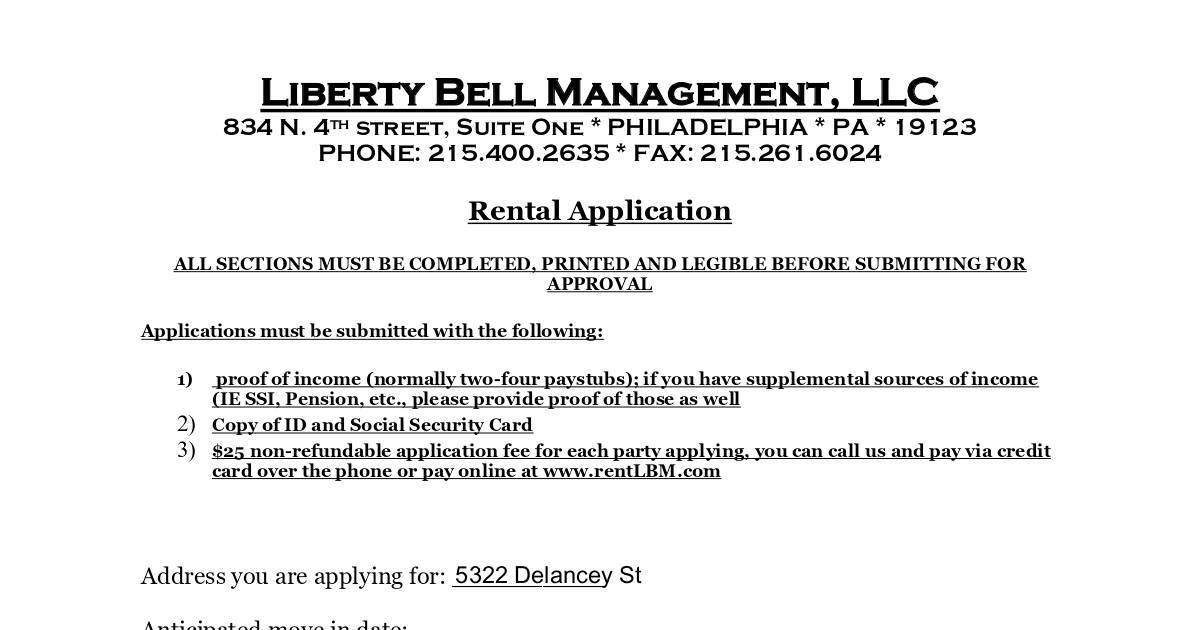 Liberty Bell Management Tenant Application Form  Dochub